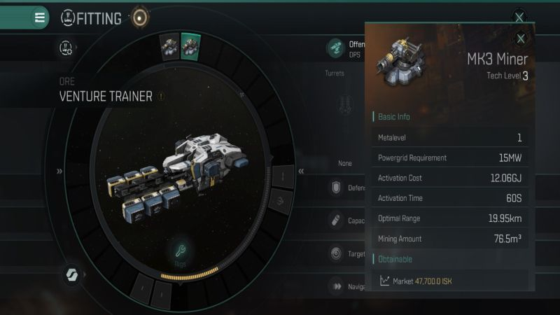 Eve Echoes Venture Trainer примерка MK3