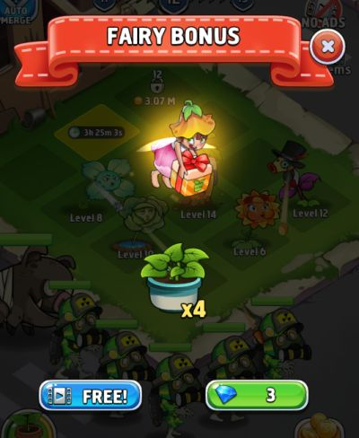 merge plants fairy bonus