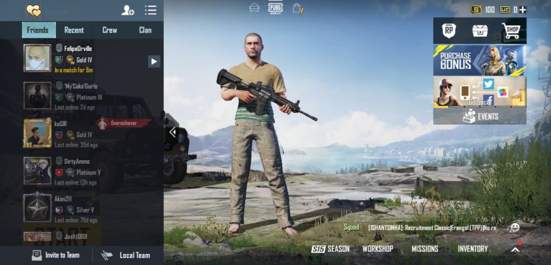 pubg mobile solo, duo and squad sessions