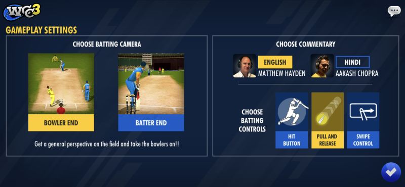 world cricket championship 3 settings
