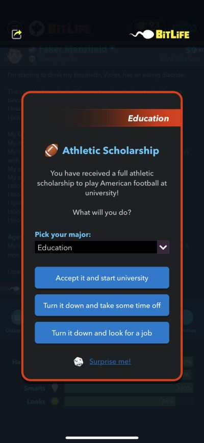how to get an athletic scholarship in bitlife