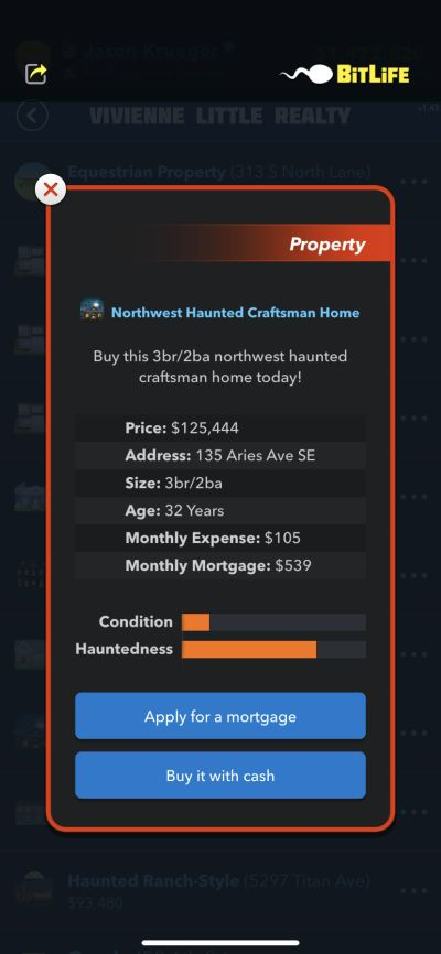 how to buy a haunted house in bitlife