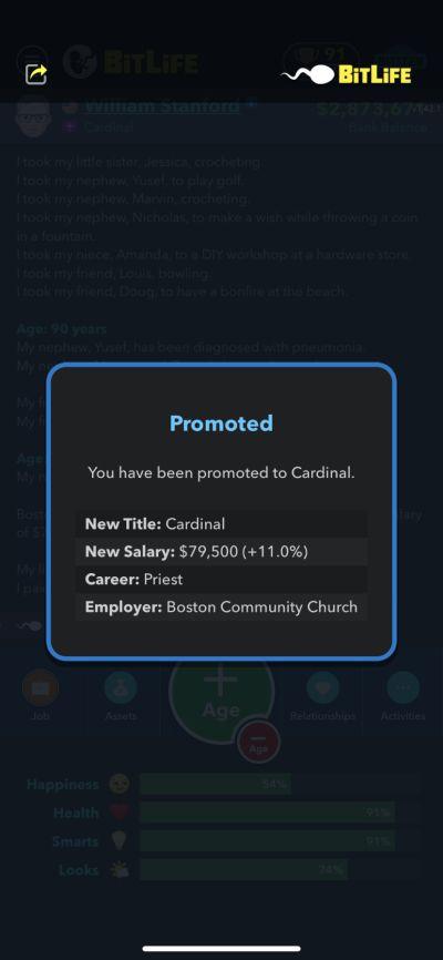 cardinal job in bitlife