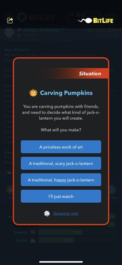 how to carve pumpkin in bitlife