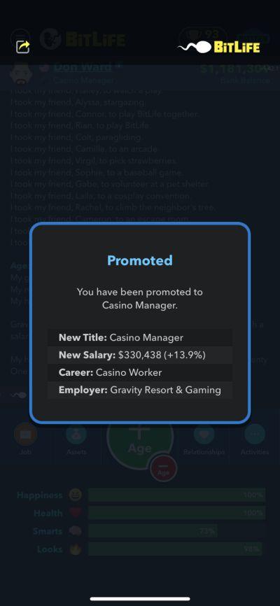 bitlife casino manager job