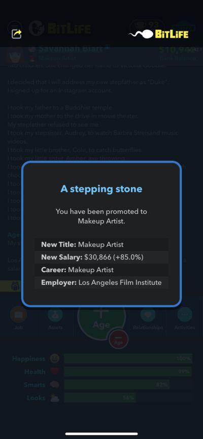 bitlife makeup artist job