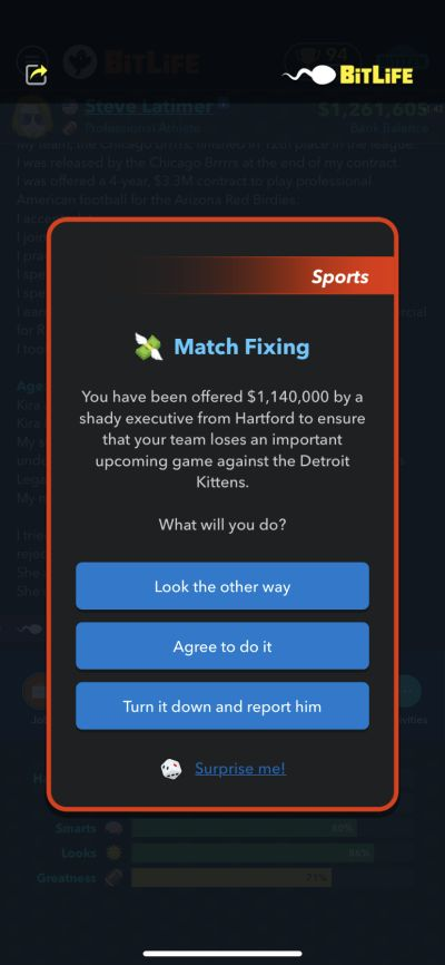 how to do match fixing in bitlife