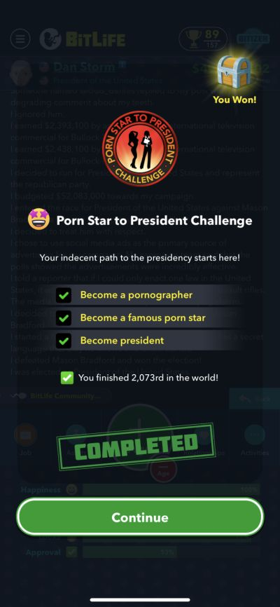 bitlife porn star to president challenge requirements