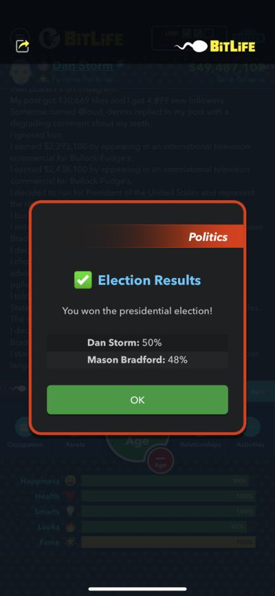 presidential election results in bitlife