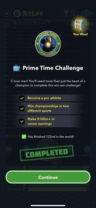 bitlife prime time challenge requirements