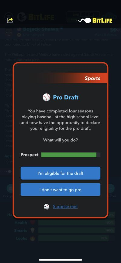 bitlife pro draft