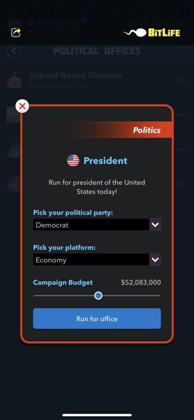running for president in bitlife