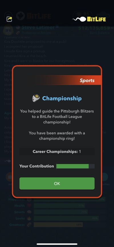 winning a football championship in bitlife