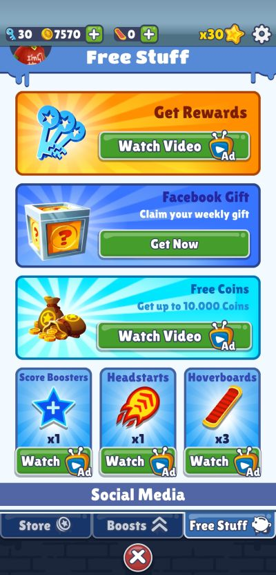 how to get free stuff in subway surfers