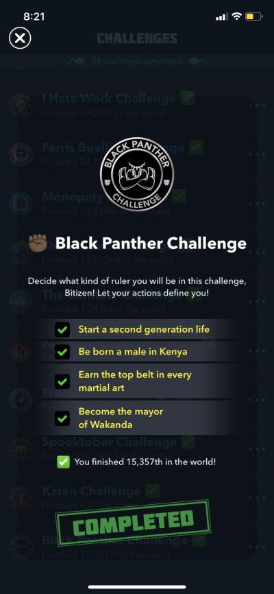 bitlife black panther challenge requirements