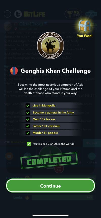 bitlife genghis khan challenge requirements