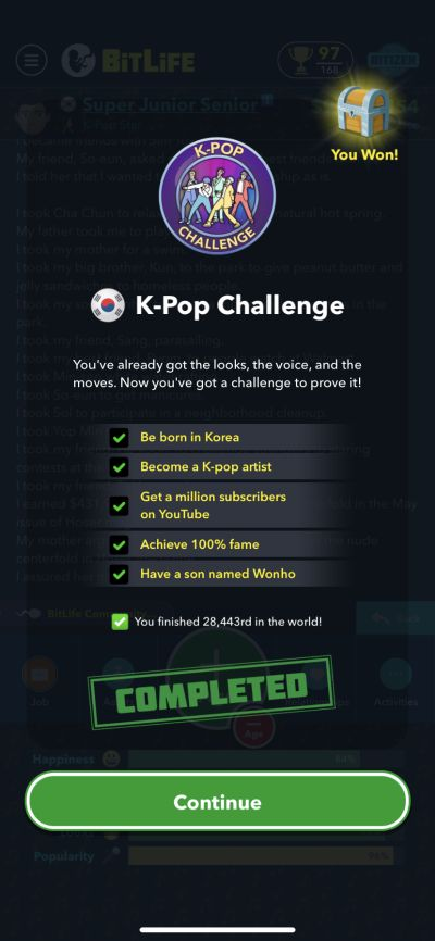 Bitlife K Pop Challenge Guide How To Complete The K Pop Challenge Level Winner