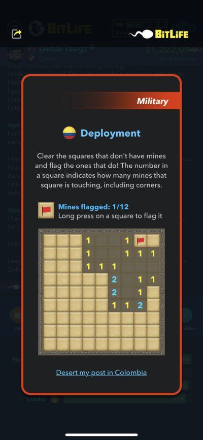 minesweeper mini-game in bitlife