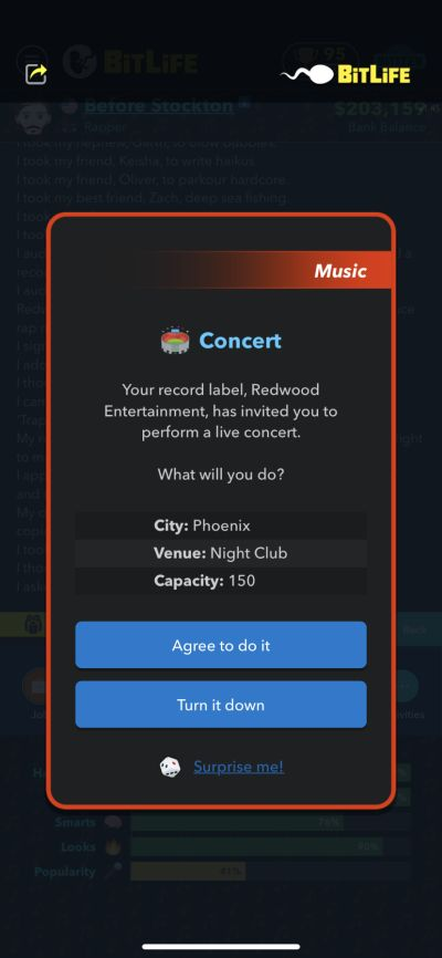 performing a concert in bitlife