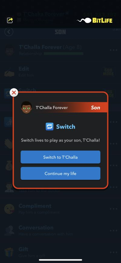 switching lives in bitlife