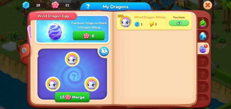 dragon collection in dragonscapes adventure