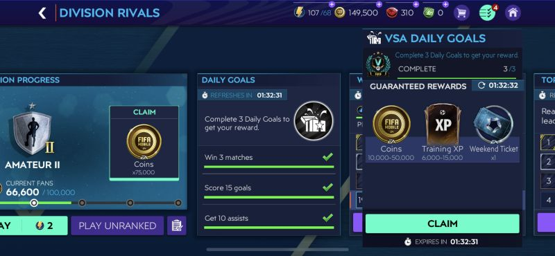 fifa 21 mobile division rivals mode