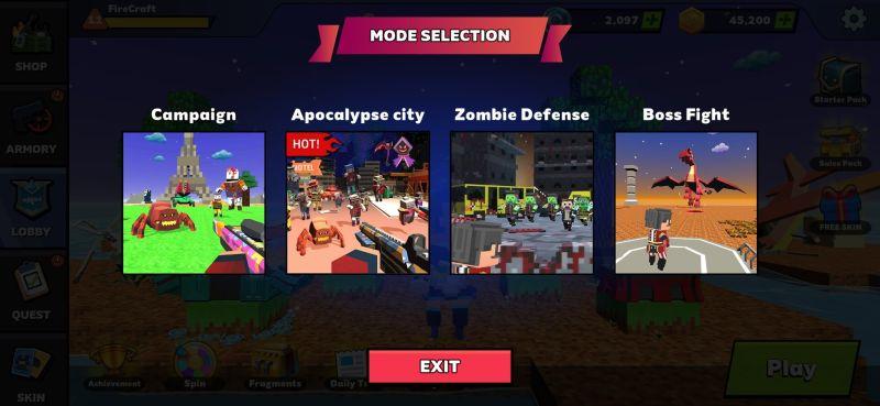fire craft 3d pixel world game modes