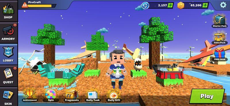 fire craft 3d pixel world menu