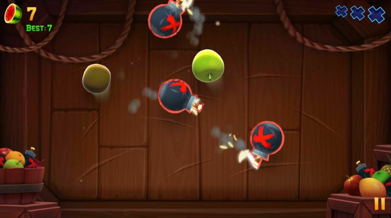 fruits and bombs in fruit ninja 2