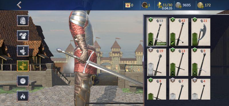 best equipment in knights fight 2