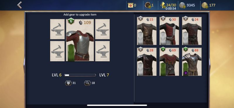 upgrading items in knights fight 2