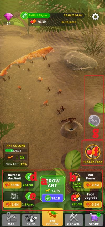 little ant colony button layout