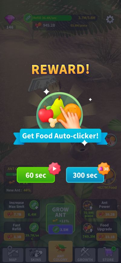 little ant colony food auto clicker reward