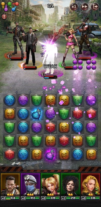 puzzle combos and hero skills in puzzles & survival