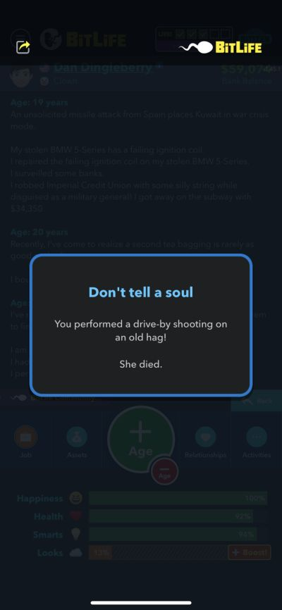 bitlife drive-by shooting