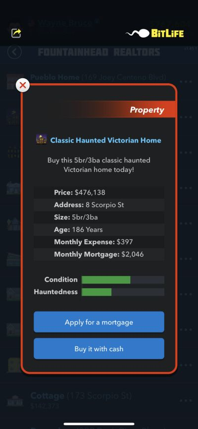 home purchase in bitlife