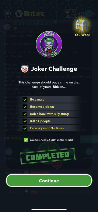 bitlife joker challenge requirements