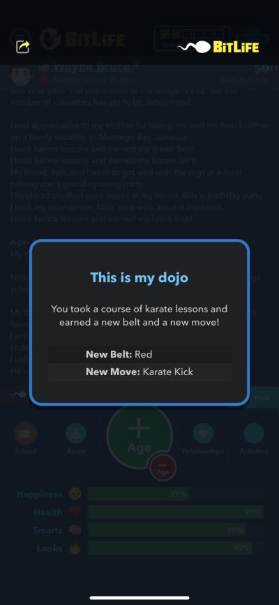 how to earn two karate black belts in bitlife
