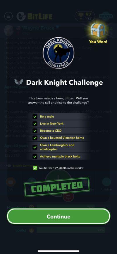 bitlife dark knight challenge requirements