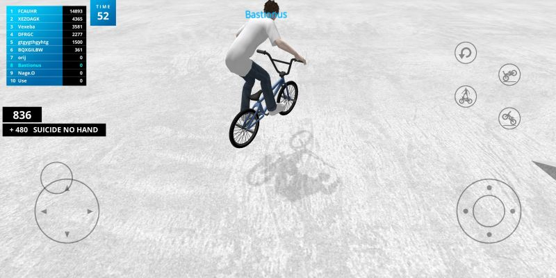 performing suicide no hand trick in bmx space