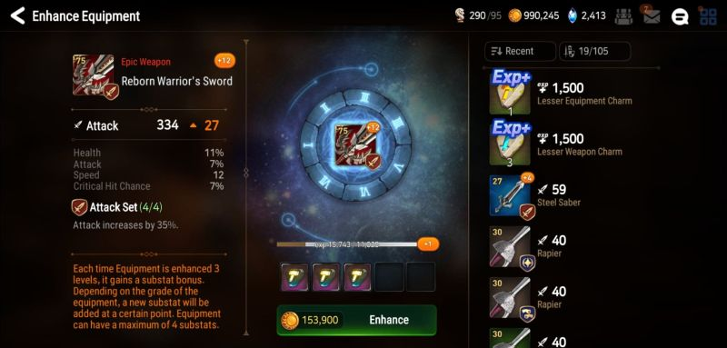 how to enhance equipment in epic seven