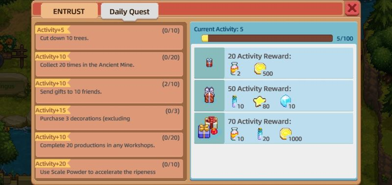 earning activity rewards in harvest town