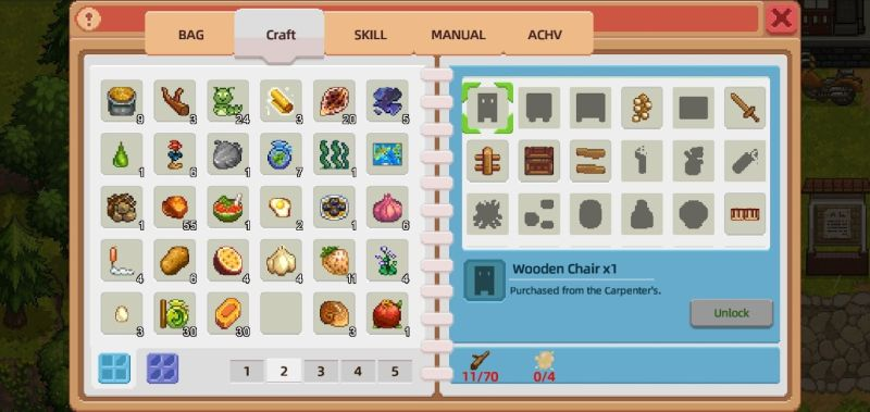 crafting items in harvest town
