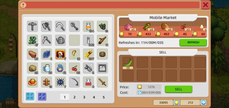 selling items in harvest town