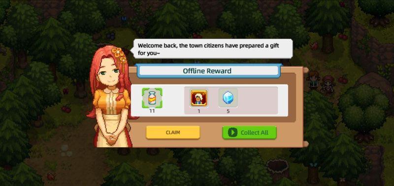 earning offline reward in harvest town
