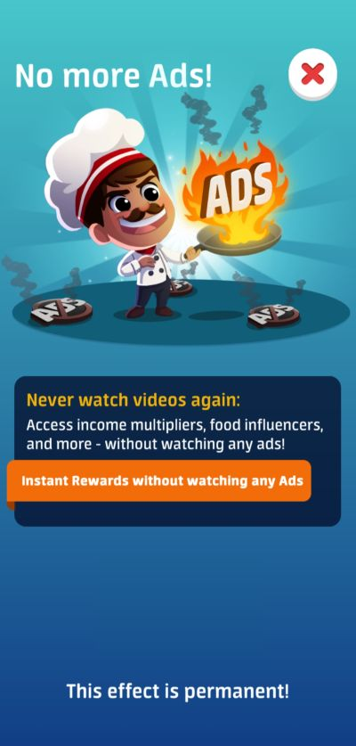 no more ads in idle restaurant tycoon