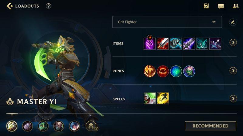 master yi loadout league of legends wild rift