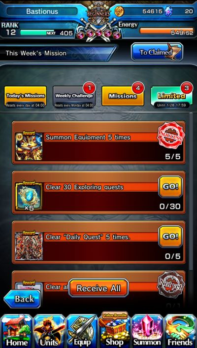 earning rewards in grand summoners