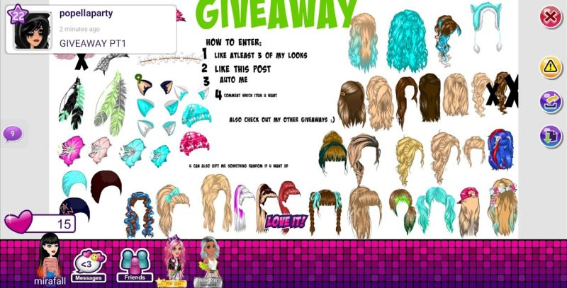 participating in a giveaway in moviestarplanet