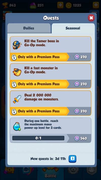 unlocking quests in rush royale